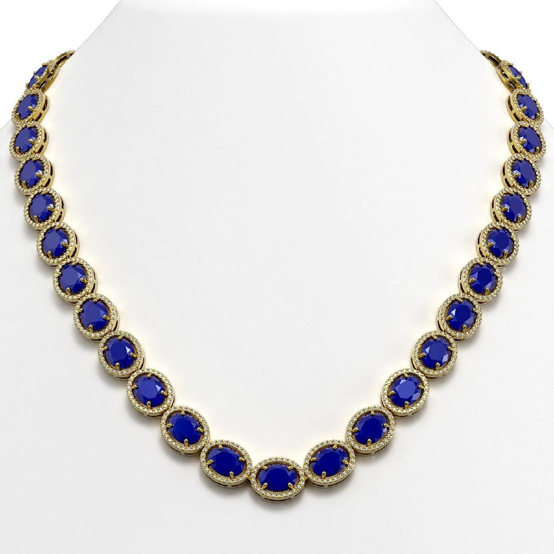 71.87 CTW Sapphire & Diamond Halo Necklace 10K Yellow