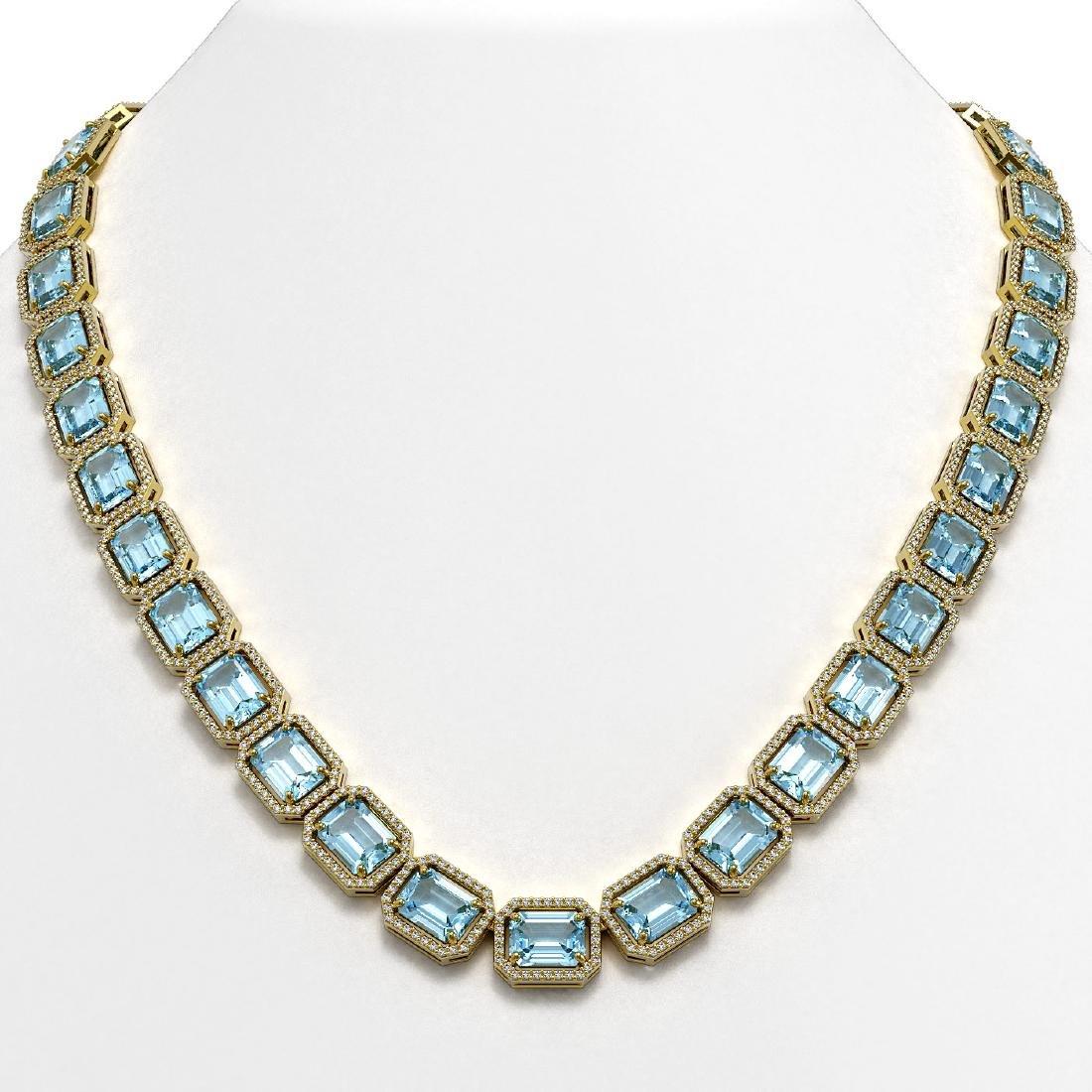 78.34 CTW Sky Topaz & Diamond Halo Necklace 10K Yellow