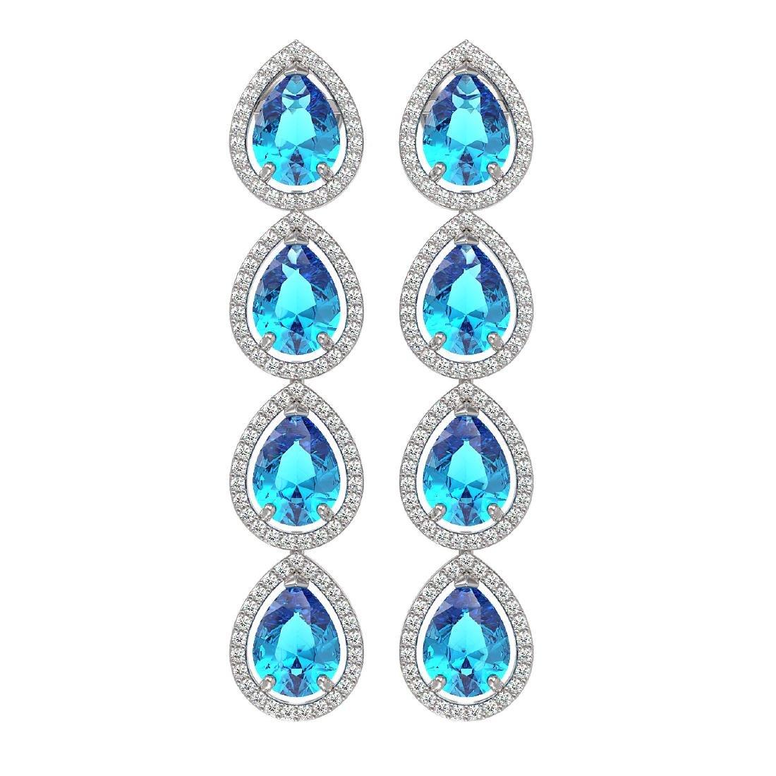 10.8 CTW Swiss Topaz & Diamond Halo Earrings 10K White