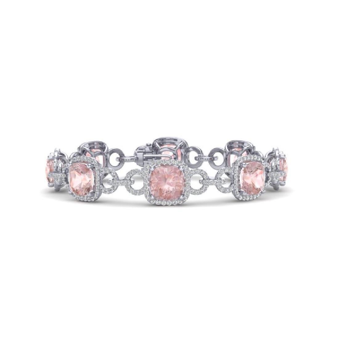 22 CTW Morganite & VS/SI Diamond Bracelet 14K White