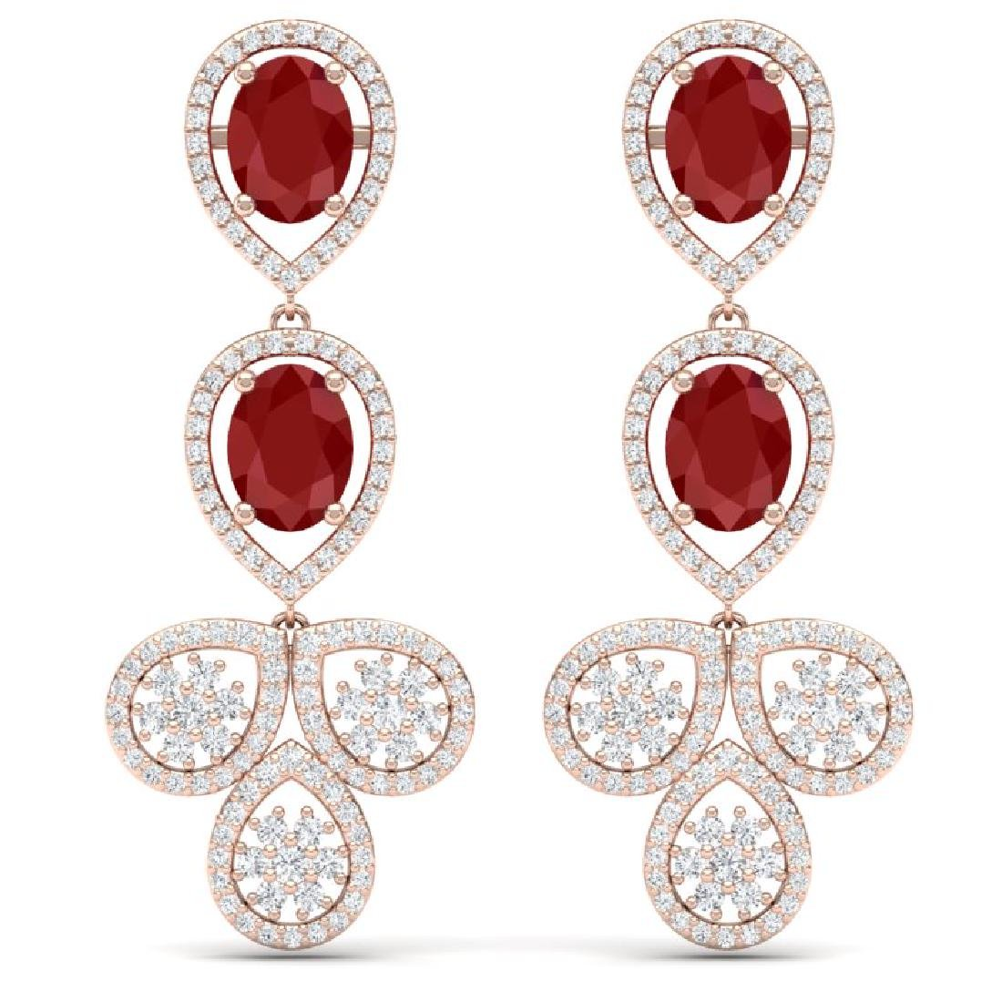 9.75 CTW Royalty Designer Ruby & VS Diamond Earrings