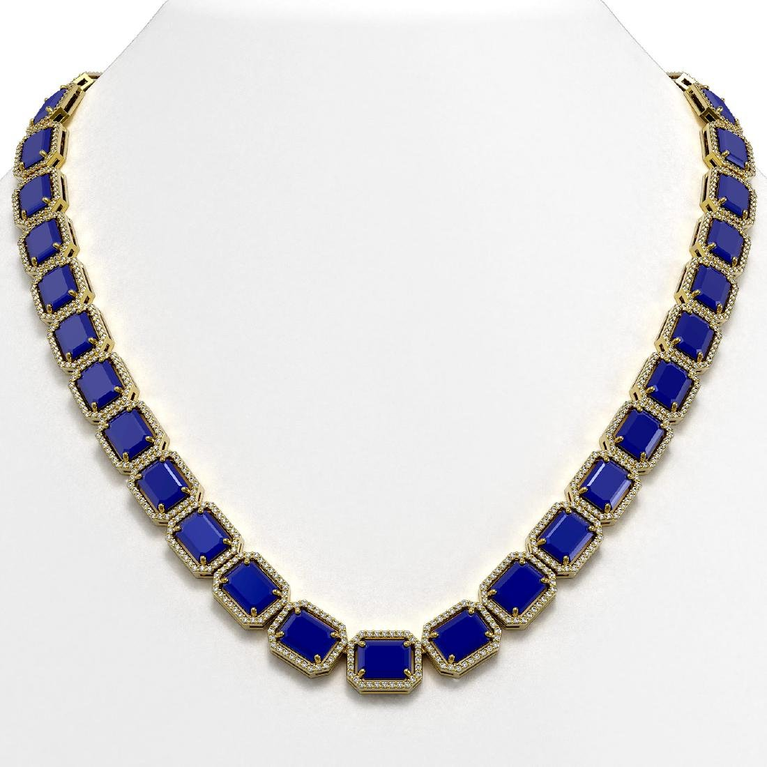 84.94 CTW Sapphire & Diamond Halo Necklace 10K Yellow