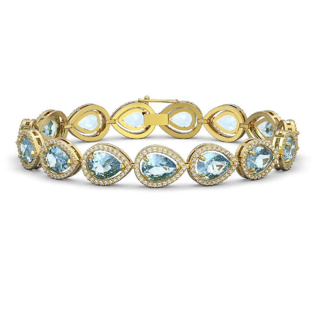 19.55 CTW Sky Topaz & Diamond Halo Bracelet 10K Yellow