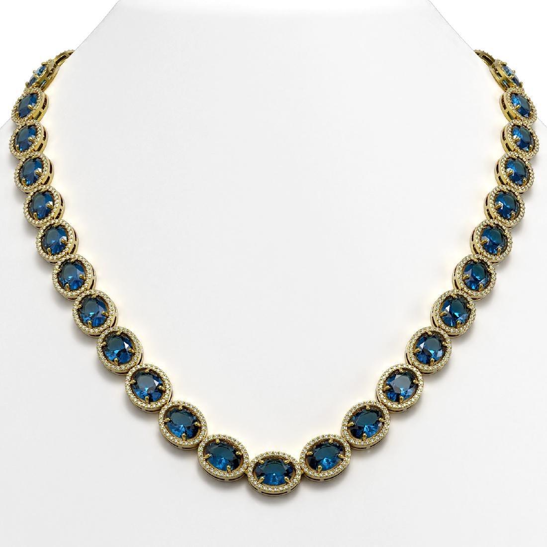 68.17 CTW London Topaz & Diamond Halo Necklace 10K