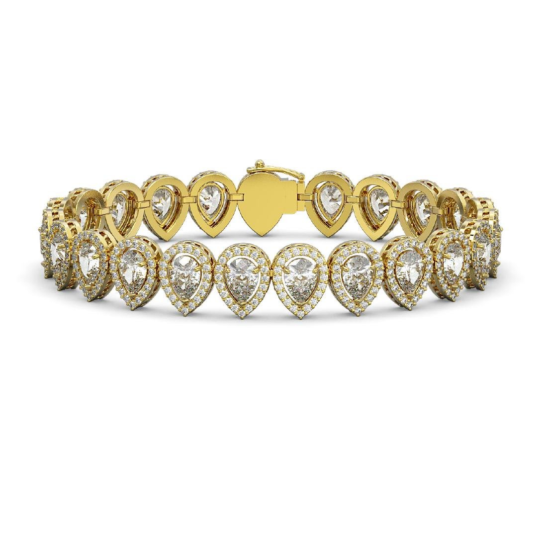 18.55 CTW Pear Diamond Designer Bracelet 18K Yellow