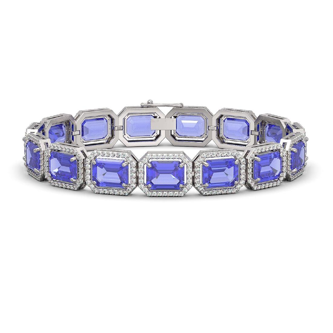 36.37 CTW Tanzanite & Diamond Halo Bracelet 10K White