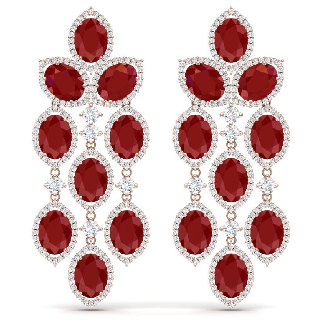 26.15 CTW Royalty Designer Ruby & VS Diamond Earrings