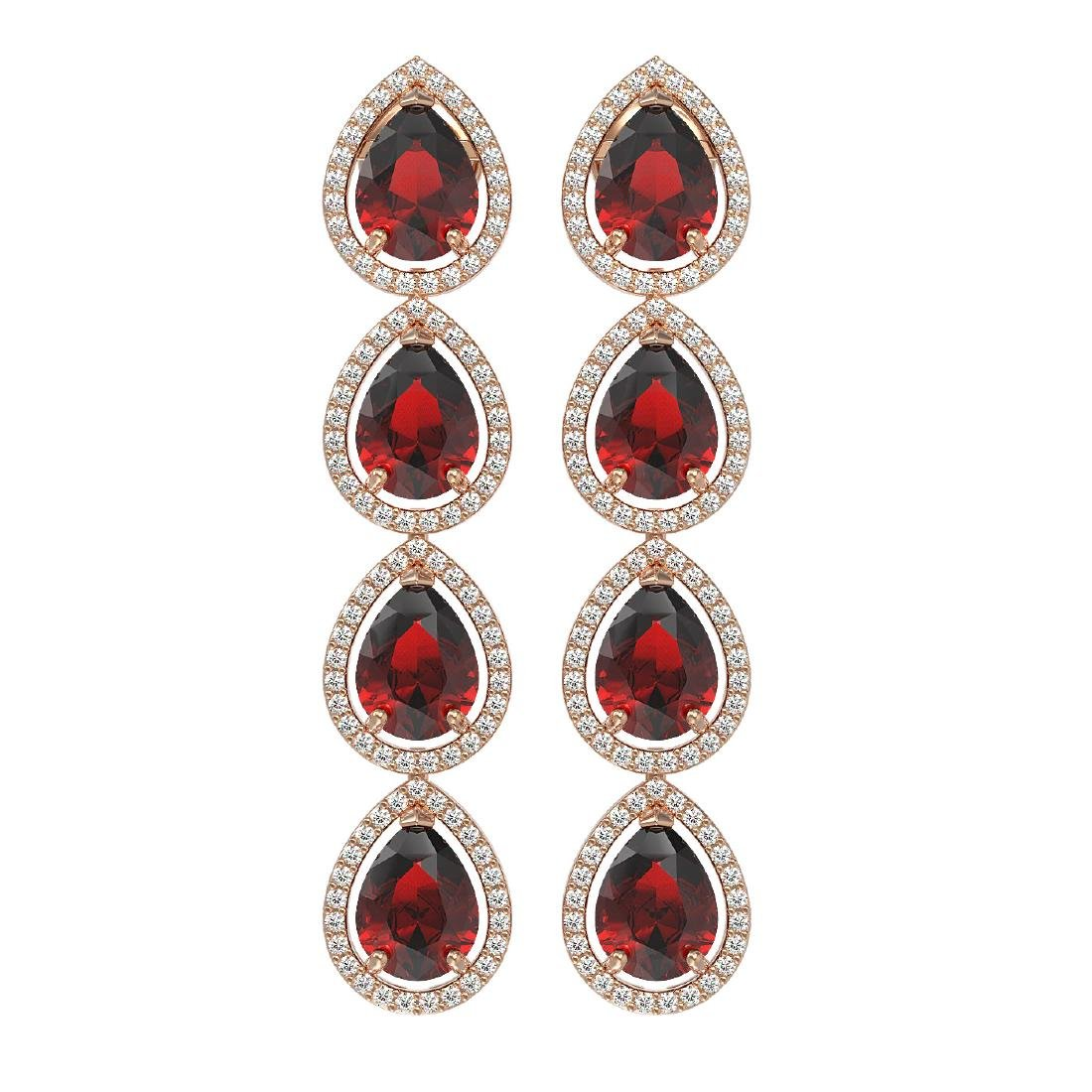 9.25 CTW Garnet & Diamond Halo Earrings 10K Rose Gold