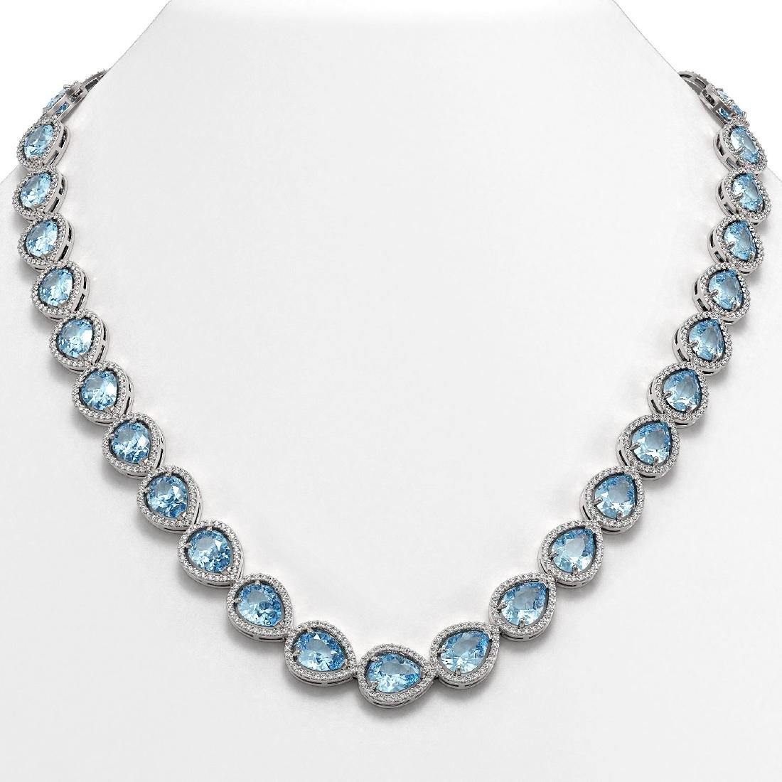 41.6 CTW Aquamarine & Diamond Halo Necklace 10K White