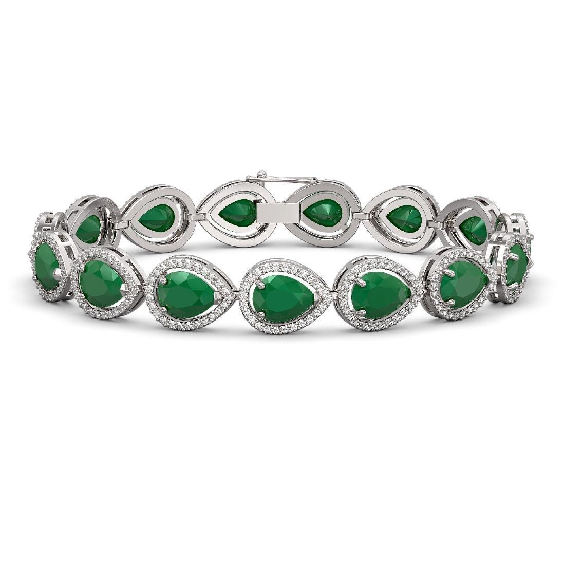 30.06 CTW Emerald & Diamond Halo Bracelet 10K White