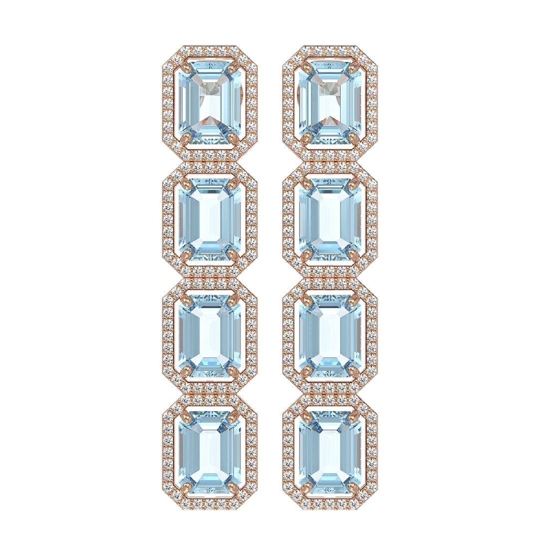 19.49 CTW Aquamarine & Diamond Halo Earrings 10K Rose