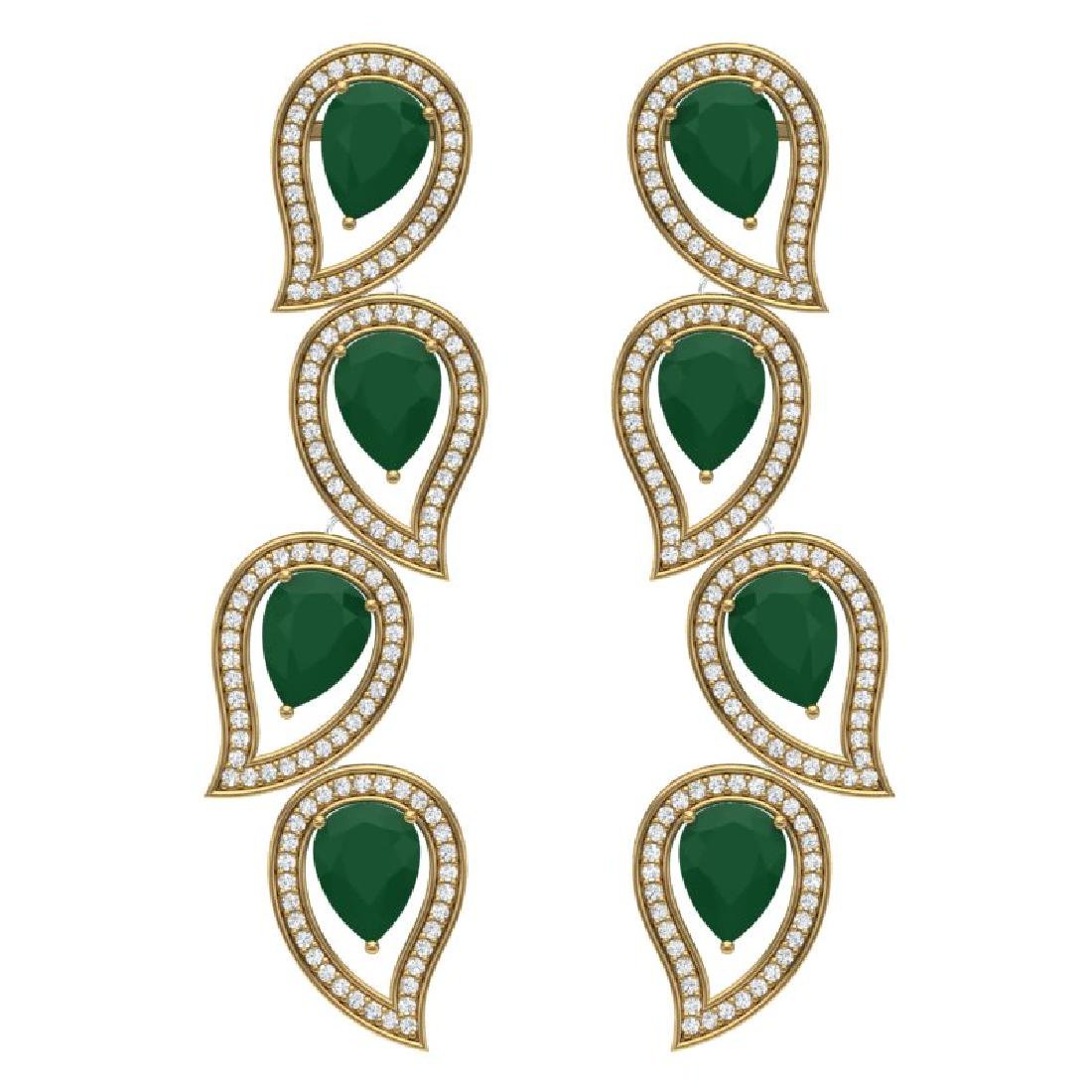 16.44 CTW Royalty Emerald & VS Diamond Earrings 18K