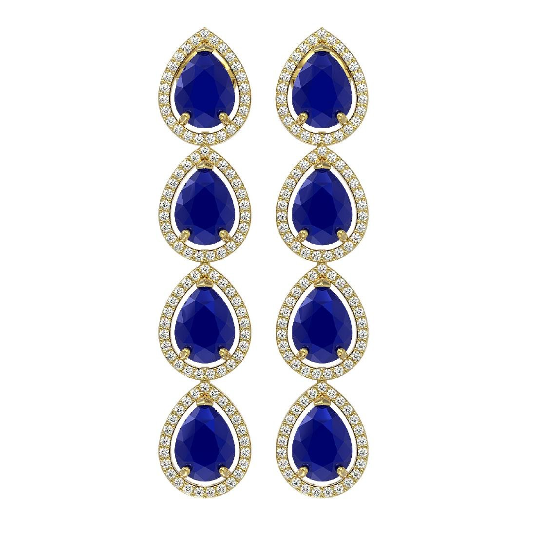 16.01 CTW Sapphire & Diamond Halo Earrings 10K Yellow