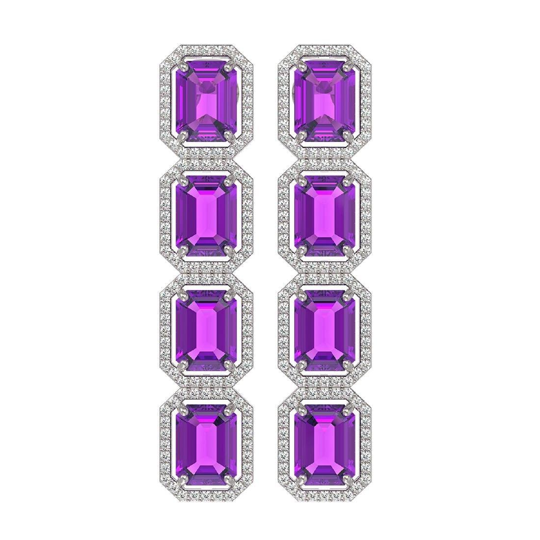 18.59 CTW Amethyst & Diamond Halo Earrings 10K White