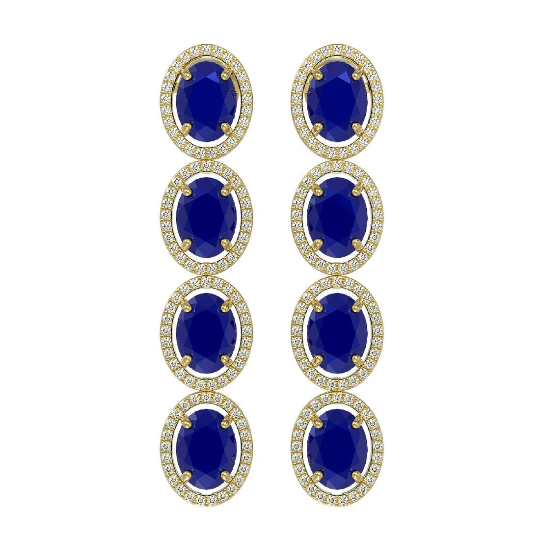 15.68 CTW Sapphire & Diamond Halo Earrings 10K Yellow