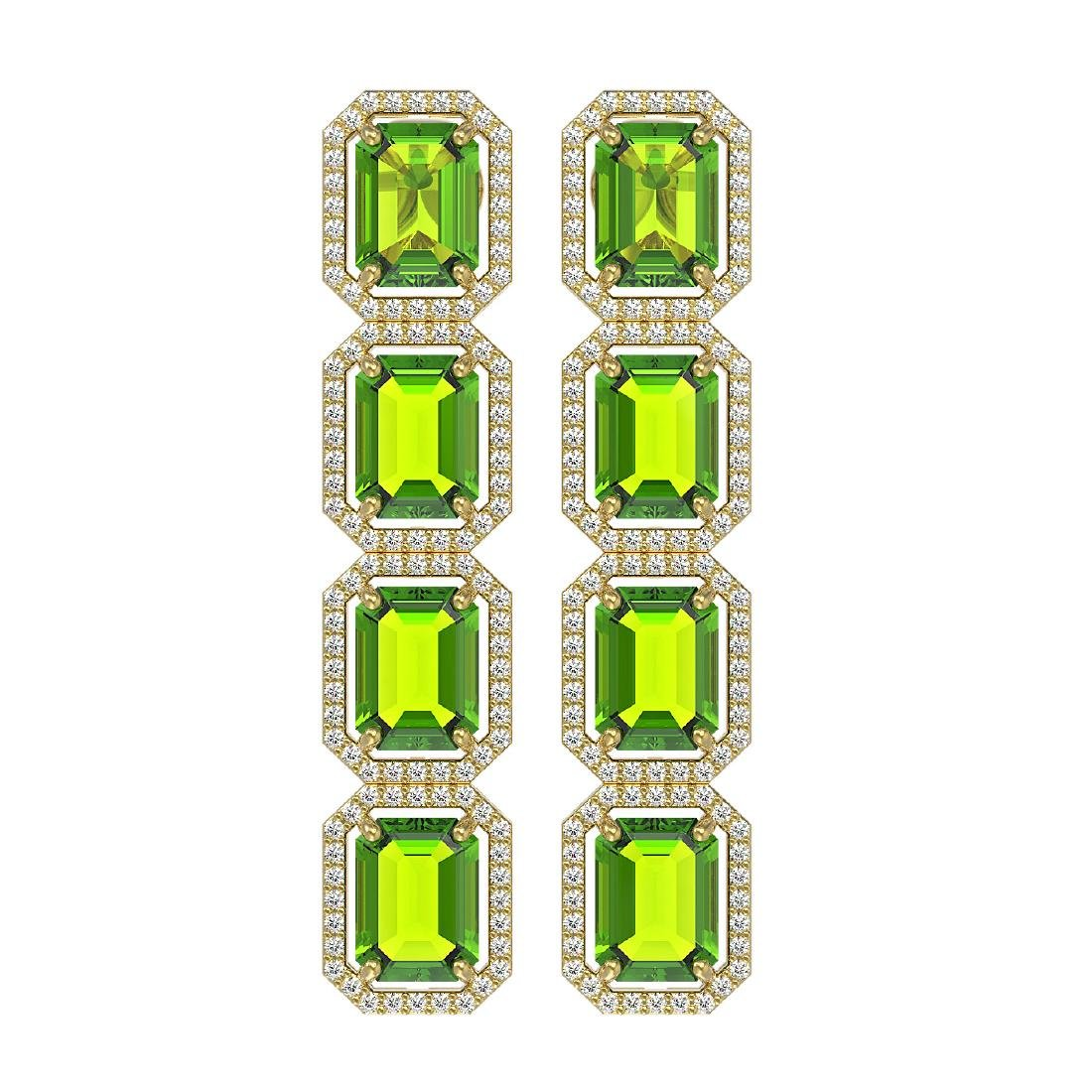 17.81 CTW Peridot & Diamond Halo Earrings 10K Yellow