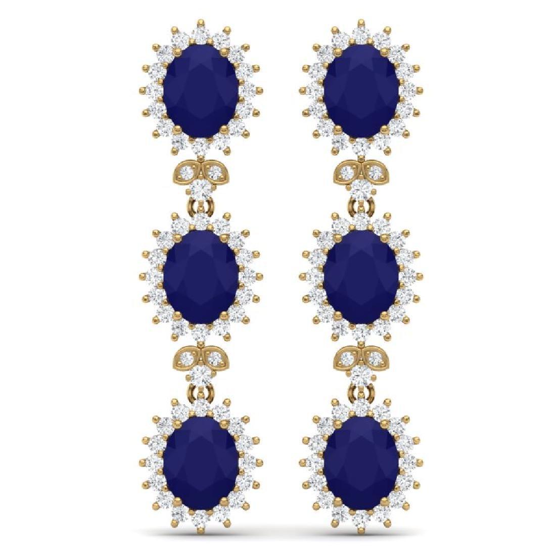 24.52 CTW Royalty Sapphire & VS Diamond Earrings 18K