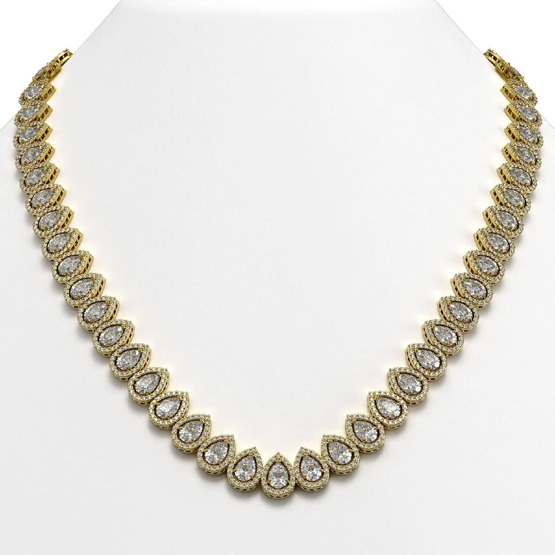42.11 CTW Pear Diamond Designer Necklace 18K Yellow