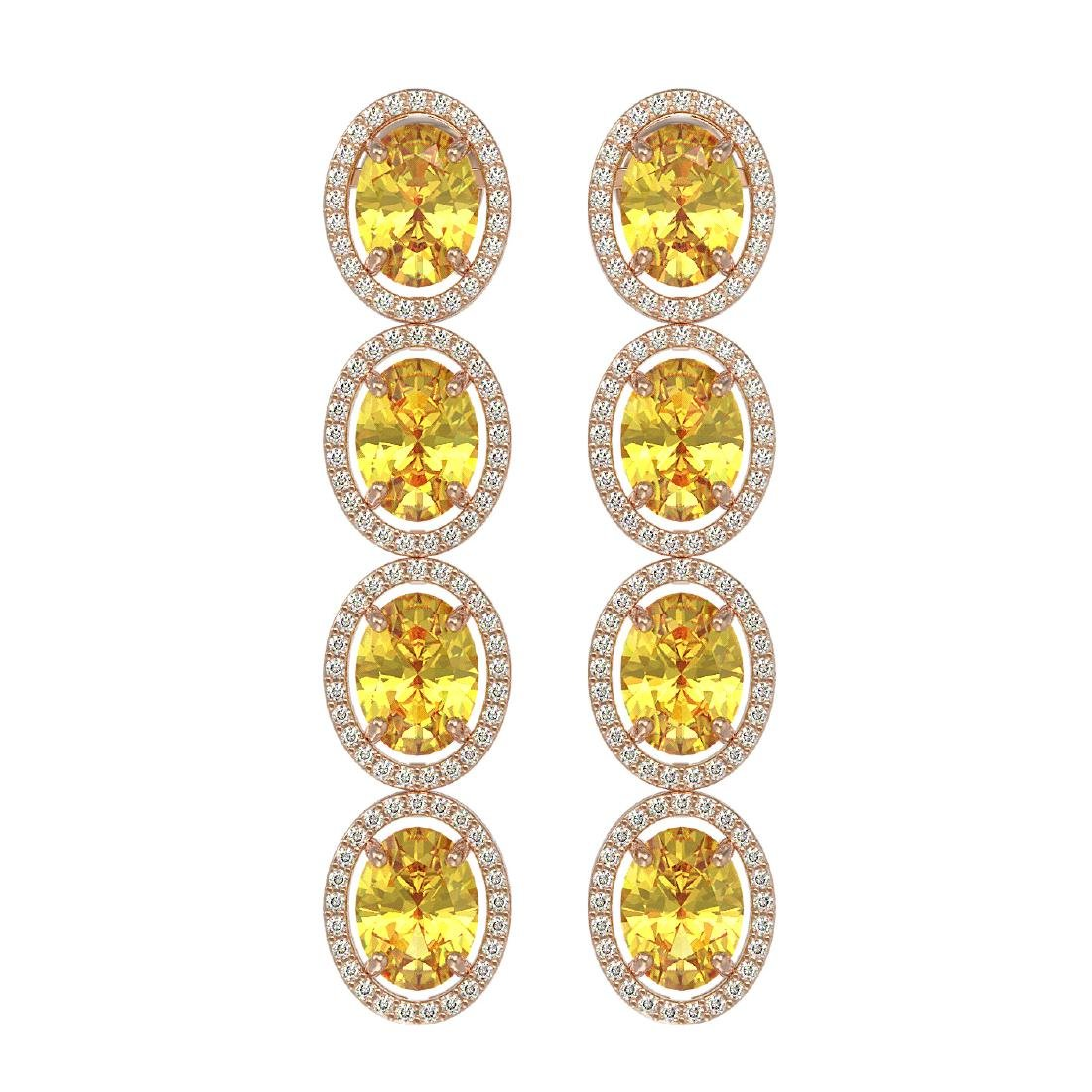 12.62 CTW Fancy Citrine & Diamond Halo Earrings 10K