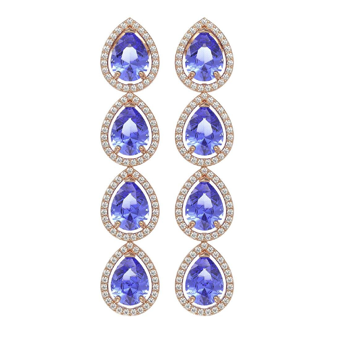 11.2 CTW Tanzanite & Diamond Halo Earrings 10K Rose