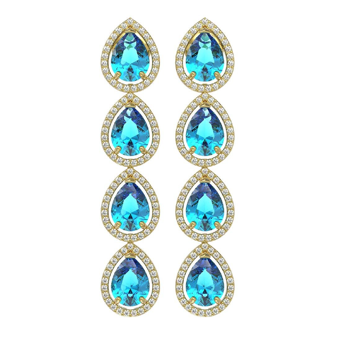 10.8 CTW Swiss Topaz & Diamond Halo Earrings 10K Yellow