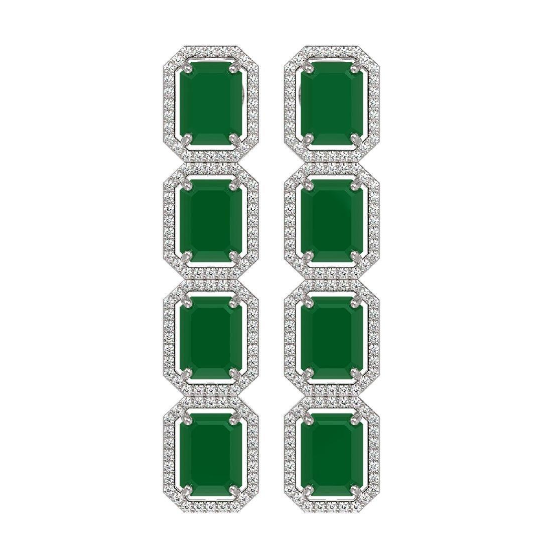 20.59 CTW Emerald & Diamond Halo Earrings 10K White