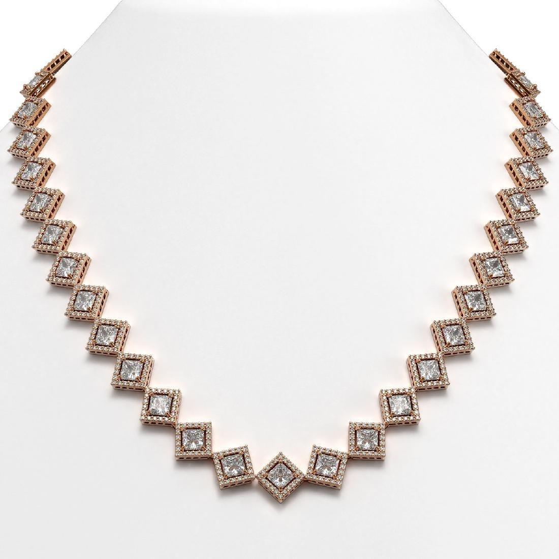 31.92 CTW Princess Cut Diamond Designer Necklace 18K