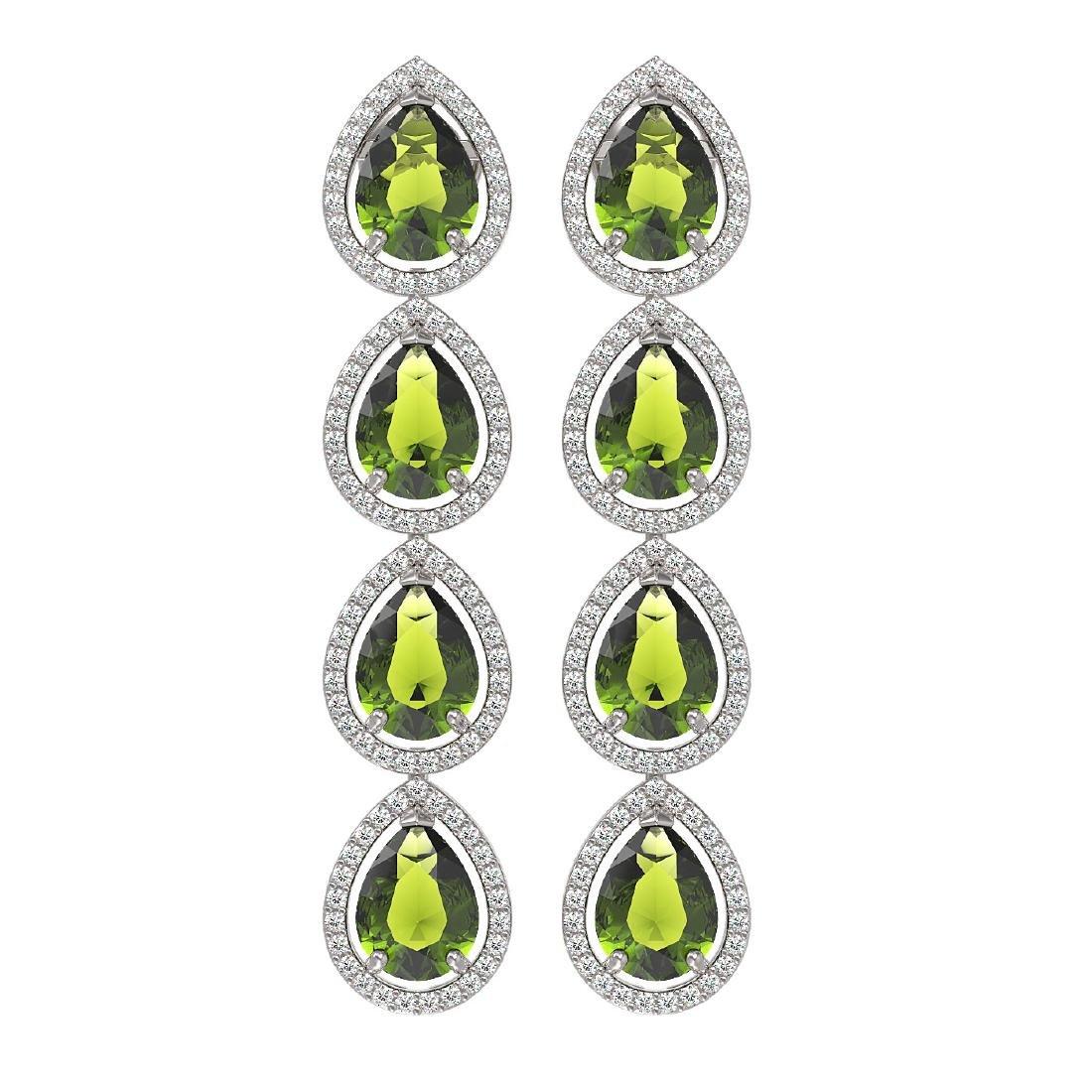 10.48 CTW Tourmaline & Diamond Halo Earrings 10K White