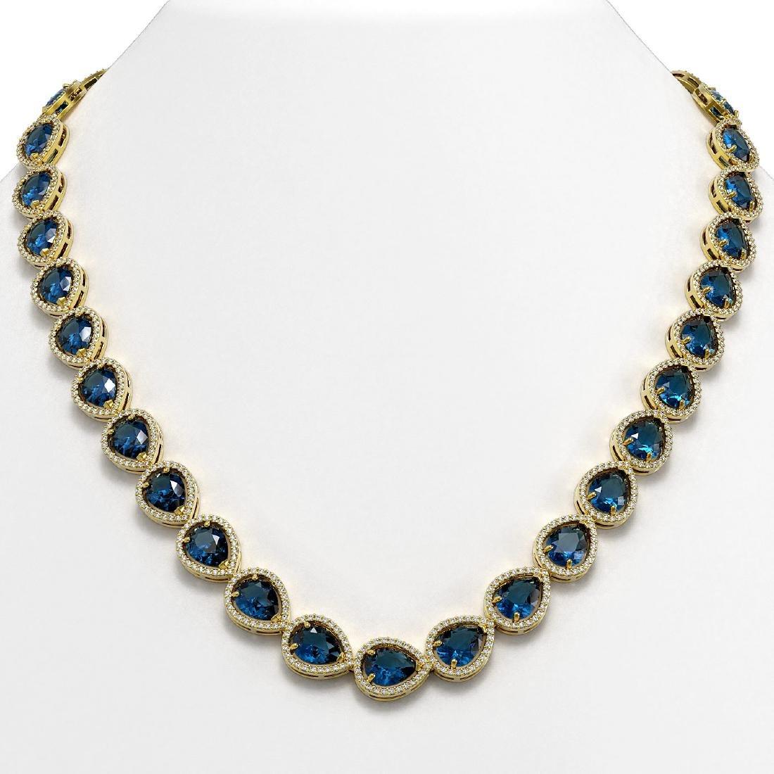 44.8 CTW London Topaz & Diamond Halo Necklace 10K
