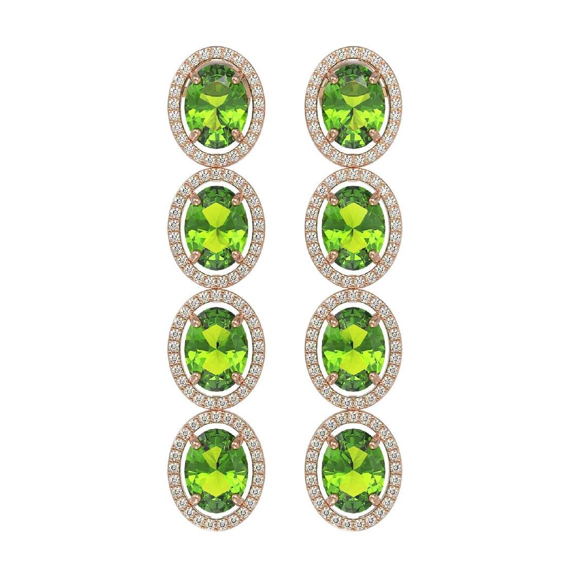 14.04 CTW Peridot & Diamond Halo Earrings 10K Rose Gold