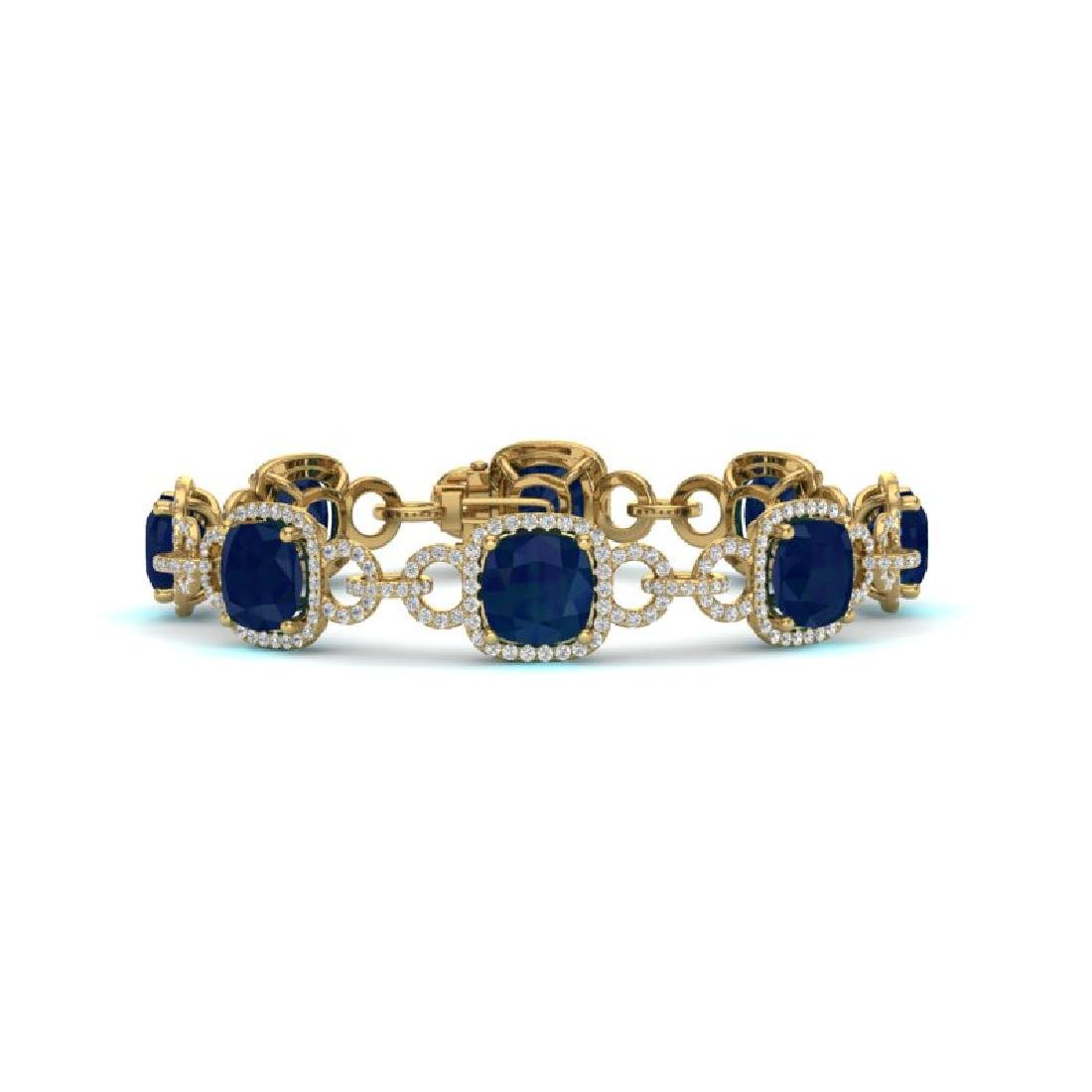 25 CTW Sapphire & VS/SI Diamond Bracelet 14K Yellow