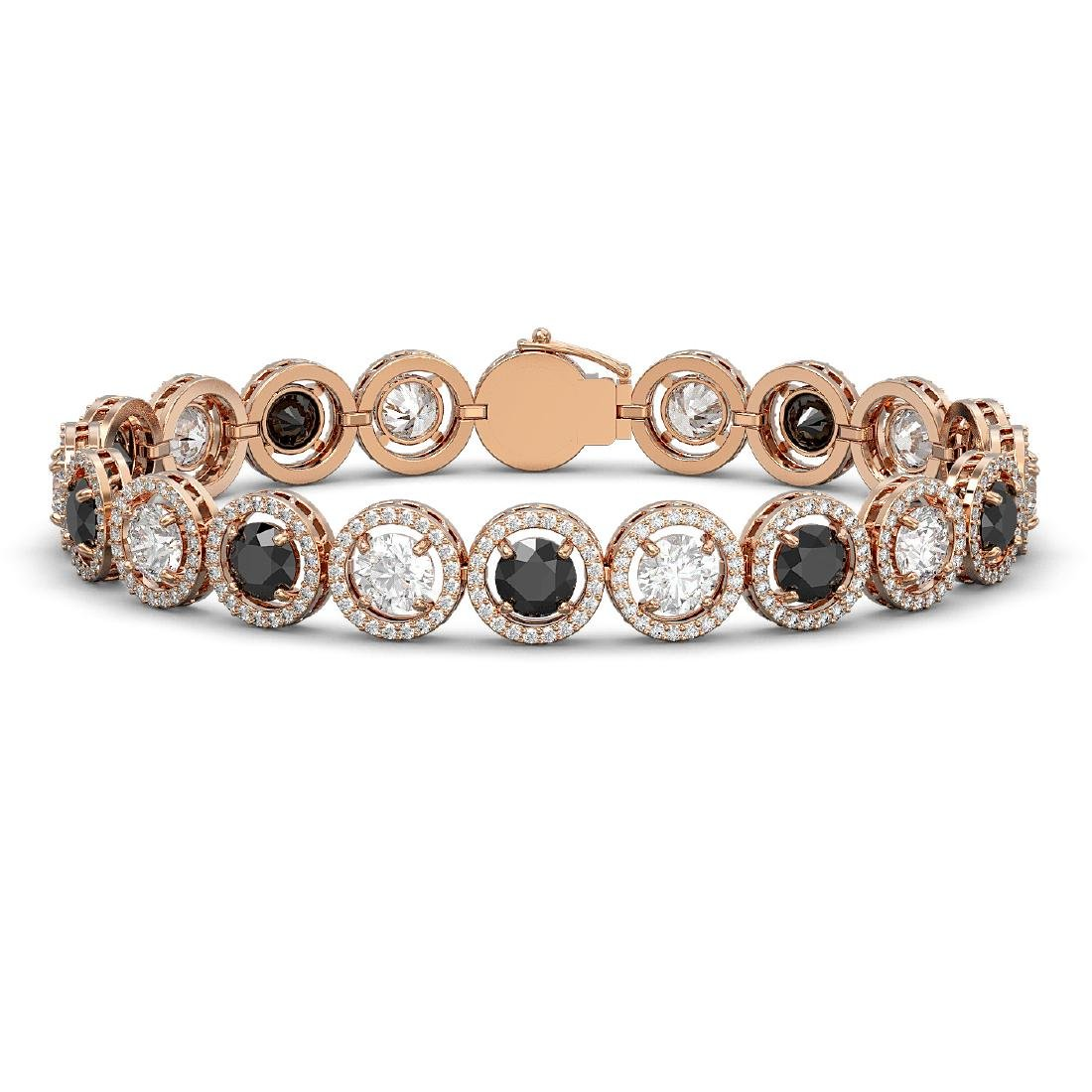 15.47 CTW Black & White Diamond Designer Bracelet 18K