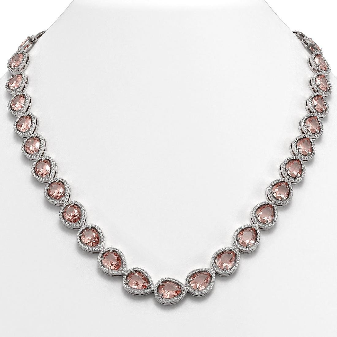41.6 CTW Morganite & Diamond Halo Necklace 10K White