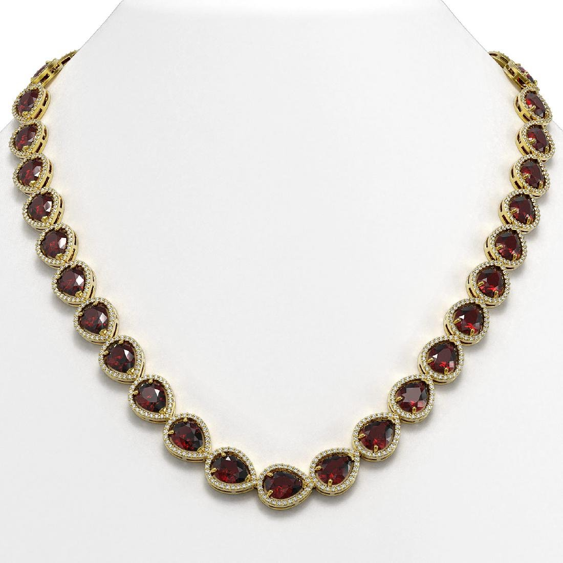 36.8 CTW Garnet & Diamond Halo Necklace 10K Yellow Gold