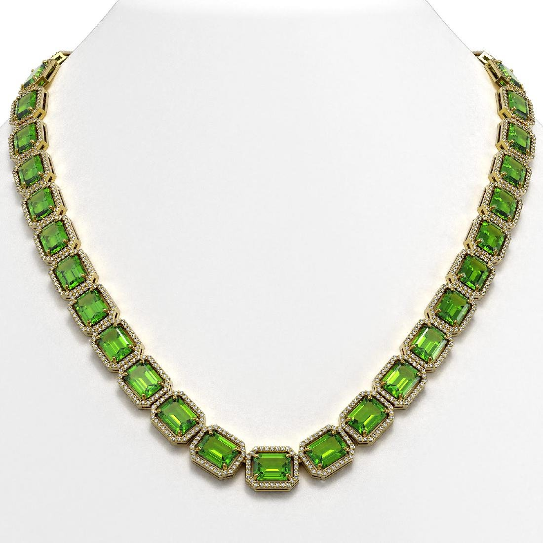 73.41 CTW Peridot & Diamond Halo Necklace 10K Yellow