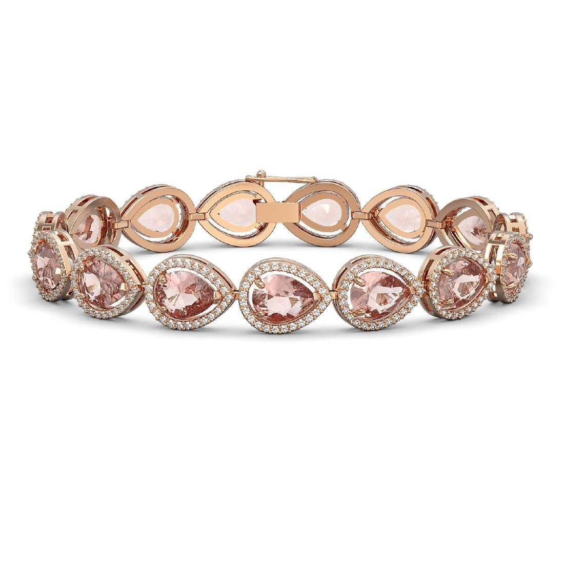 19.55 CTW Morganite & Diamond Halo Bracelet 10K Rose