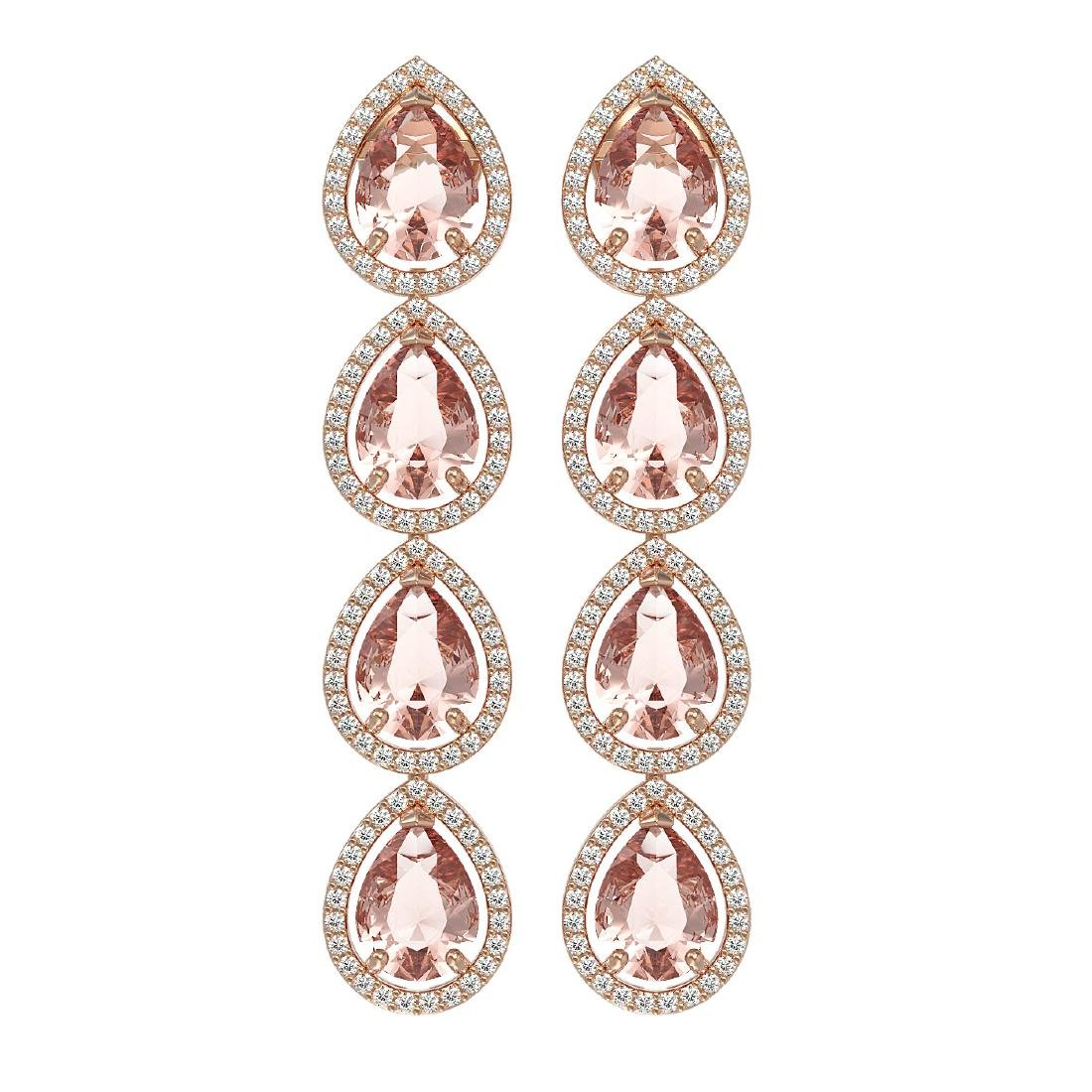 10.4 CTW Morganite & Diamond Halo Earrings 10K Rose