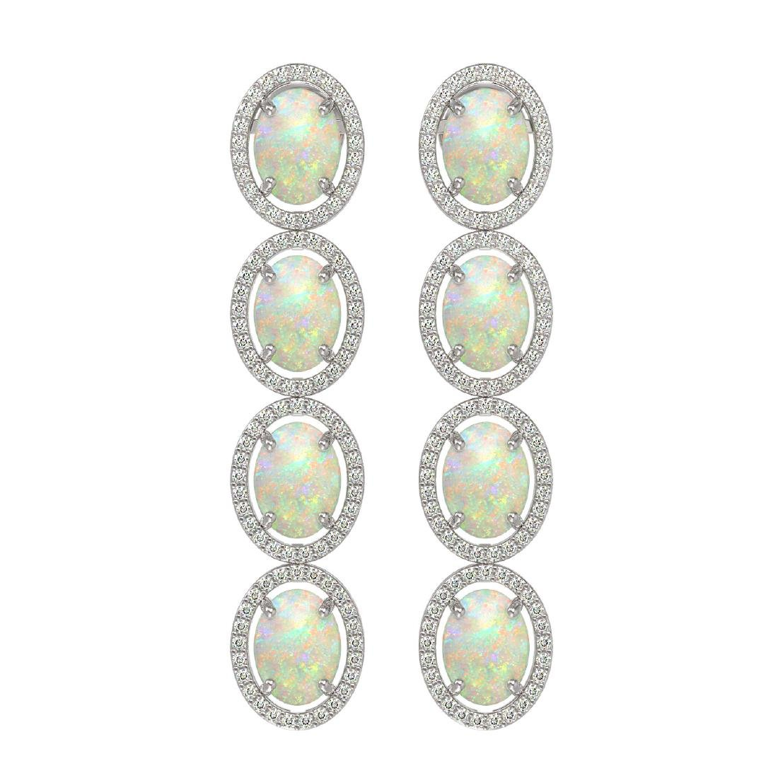 9.16 CTW Opal & Diamond Halo Earrings 10K White Gold