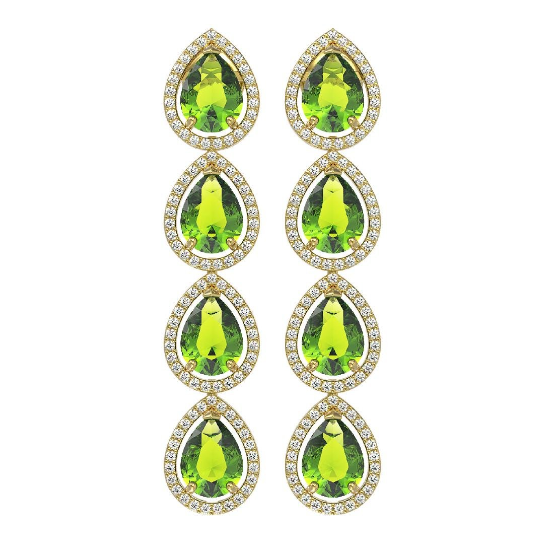 8.4 CTW Peridot & Diamond Halo Earrings 10K Yellow Gold