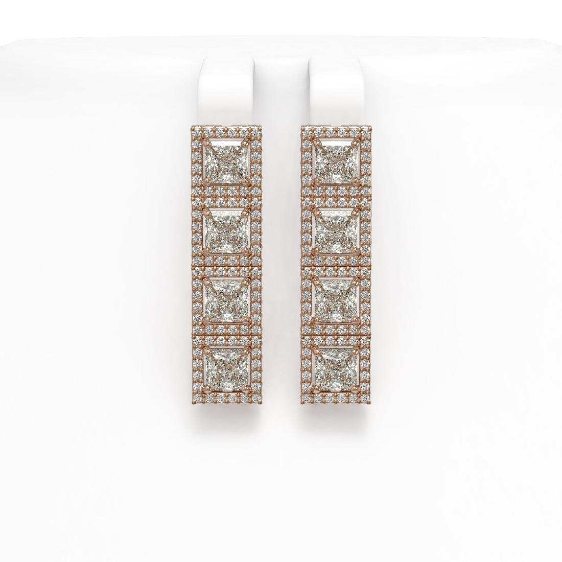 6.08 CTW Princess Diamond Designer Earrings 18K Rose