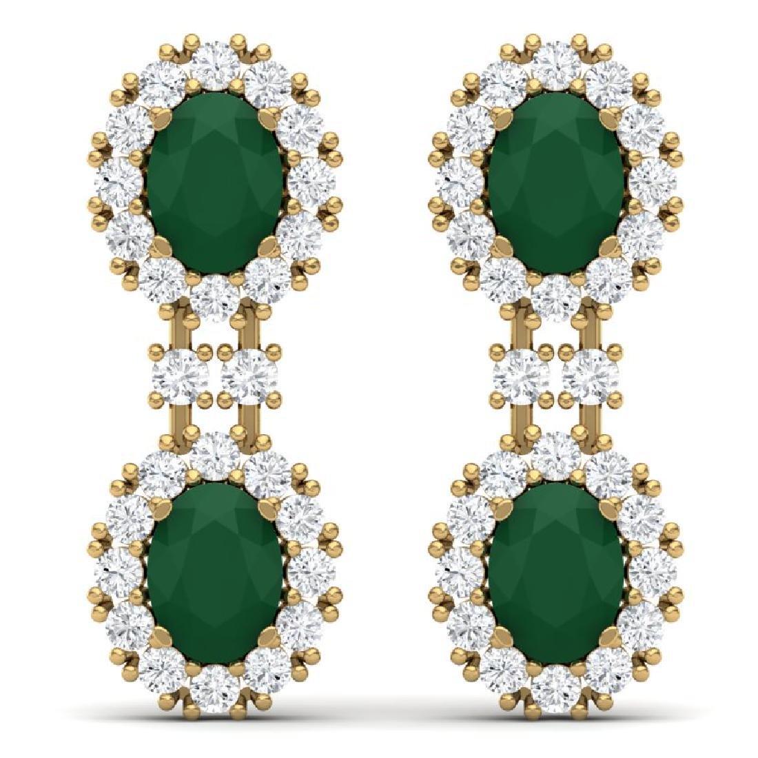 8.98 CTW Royalty Emerald & VS Diamond Earrings 18K