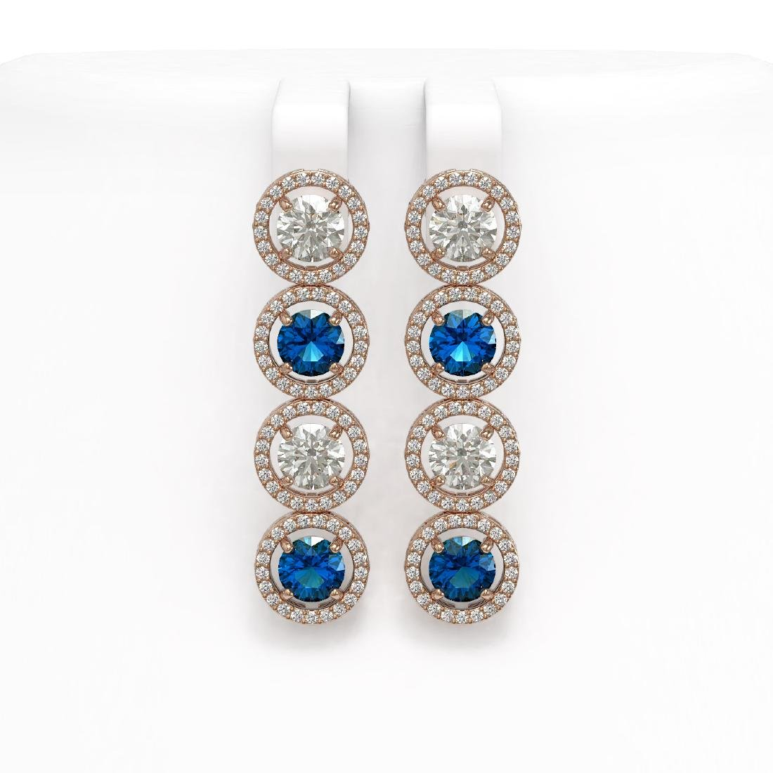 6.25 CTW Blue & White Diamond Designer Earrings 18K