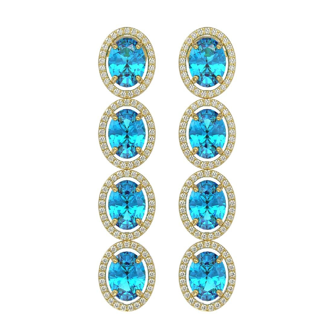 14.76 CTW Swiss Topaz & Diamond Halo Earrings 10K