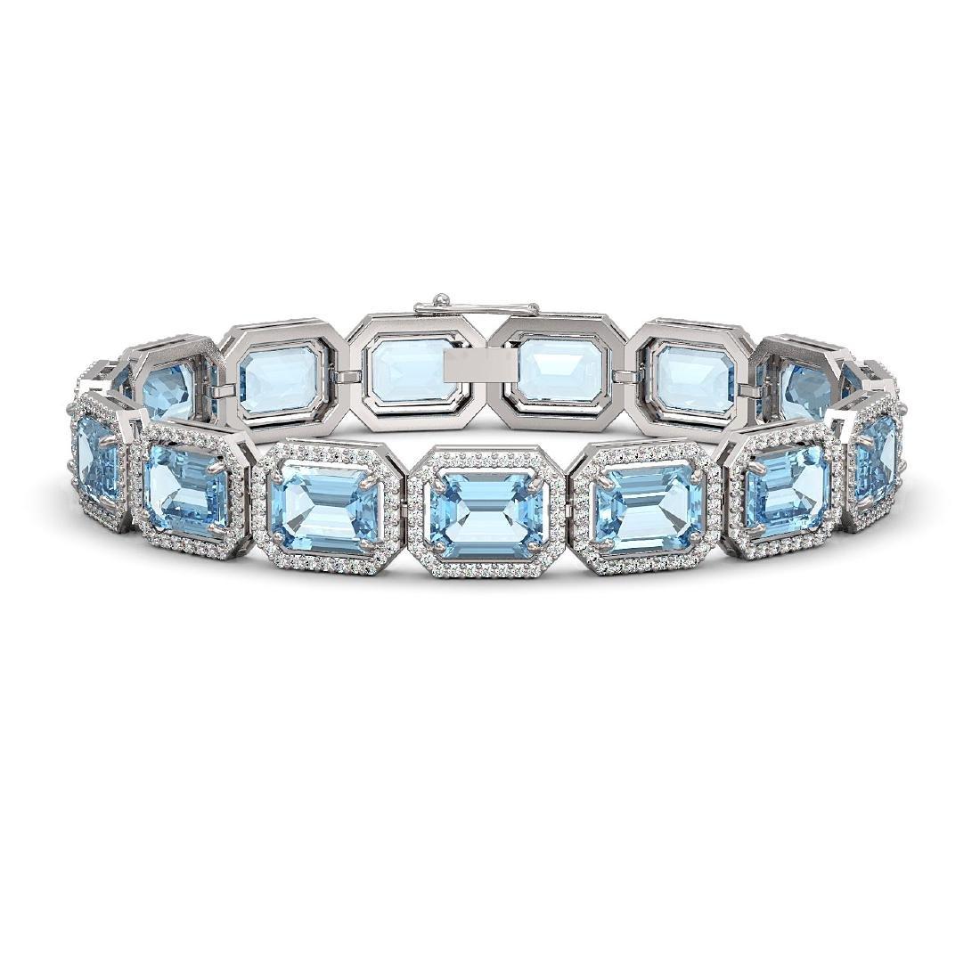35.61 CTW Sky Topaz & Diamond Halo Bracelet 10K White