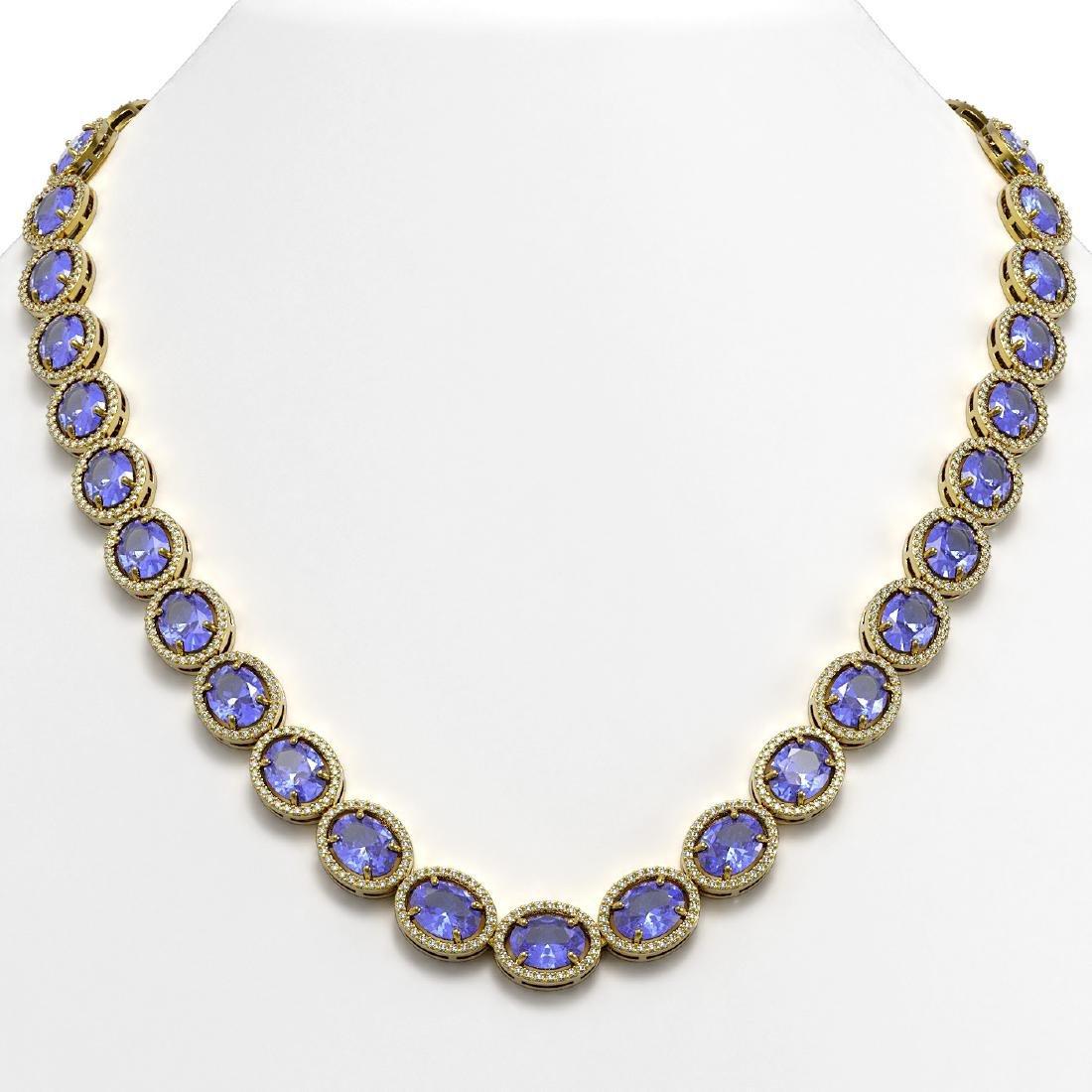 62.99 CTW Tanzanite & Diamond Halo Necklace 10K Yellow