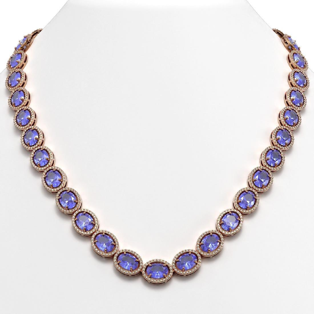 62.99 CTW Tanzanite & Diamond Halo Necklace 10K Rose