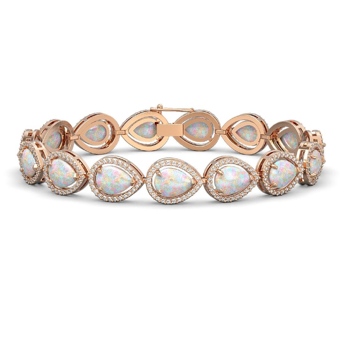 17.15 CTW Opal & Diamond Halo Bracelet 10K Rose Gold