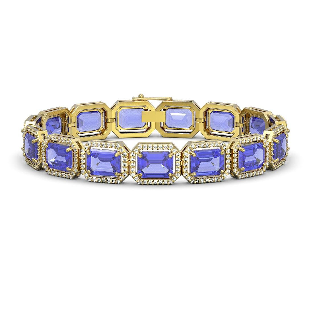 36.37 CTW Tanzanite & Diamond Halo Bracelet 10K Yellow