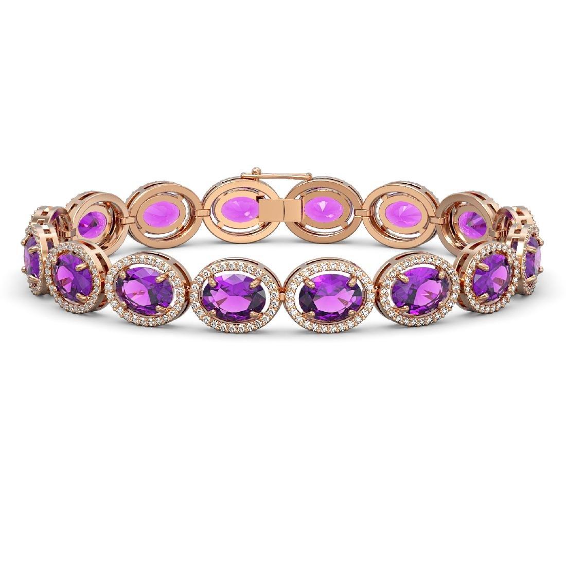 24.72 CTW Amethyst & Diamond Halo Bracelet 10K Rose