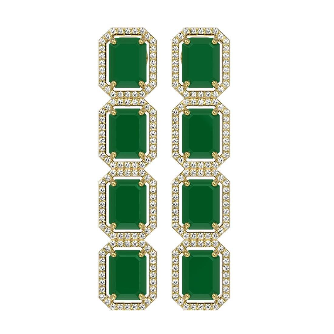 20.59 CTW Emerald & Diamond Halo Earrings 10K Yellow